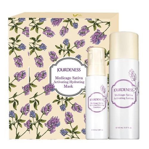 紫花苜蓿活妍化妝水150ml+保濕乳100ml+面膜5片/盒x2