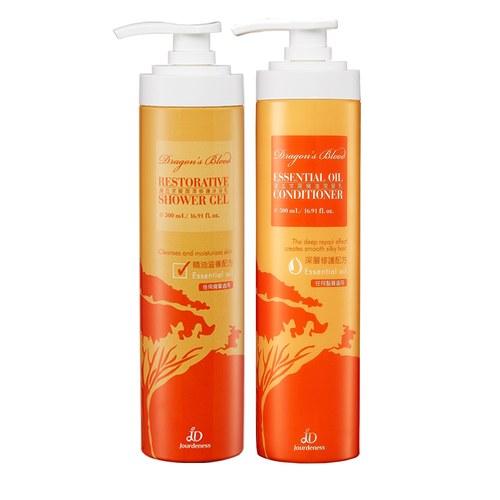 龍血求麗潤澤修護沐浴乳500ml+精油潤髮乳500ml